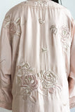 1920s Silk Embroidered Rose Robe - M/L