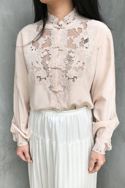 Vintage Peachy Taupe Silk Embroidered Blouse - S/M