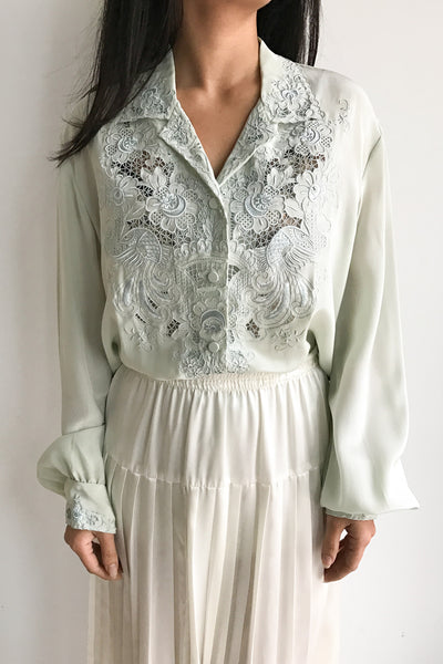 Vintage Seafoam Silk Embroidered Blouse - S/M