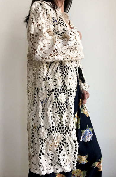 1950s Embroidered Cutout Lace Jacket/Duster - M