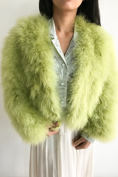 Vintage Citrus Green Feather Jacket - S/M