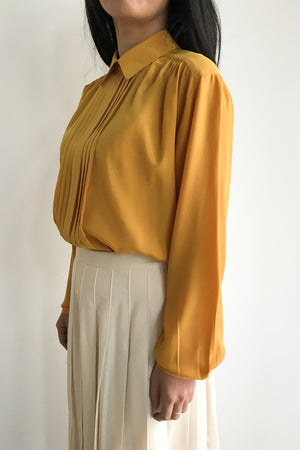 Vintage Marigold Pleated Silk Blouse - S/M