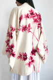 Vintage Ivory with Pink Floral Pint Short Kimono - One Size