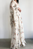 1970s Cotton Angel Sleeves Floral Dress - M