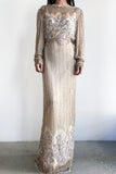 1980s Silk Lace Beaded Gown - M