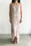 1980s Silk Pink Beaded Stars and Moon Dress - S/M
