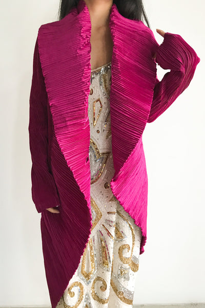 Vintage Magenta Pleated Jacket - S/M