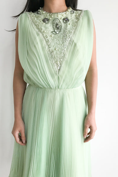 1950s Mint Green Chiffon Dress - S