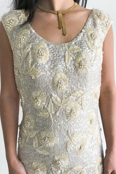 1960s Ivory Wool Beaded Dress - S/M