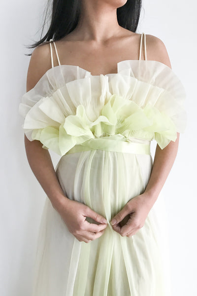 1960s Keylime Sheer Tricot Chiffon Tulip Bust Gown - S/M