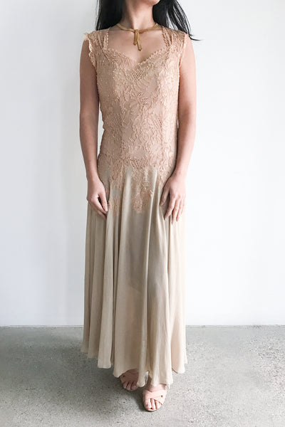 1930s Lace and Chiffon Dress - XS