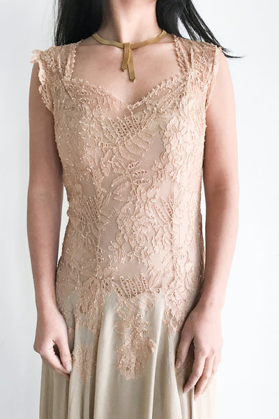 RESERVED 1930s Lace and Chiffon Dress - XS