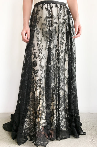 Antique Black Lace Skirt - M