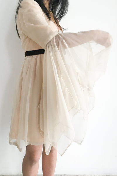 1970s Chiffon Mini Dress with Bell Sleeves - S/M