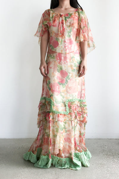 1930s Silk Floral Dropped Waist Dress - M