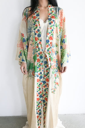 1920s Pongee Silk Robe With Detailed Kimono Blossom Print - One Size