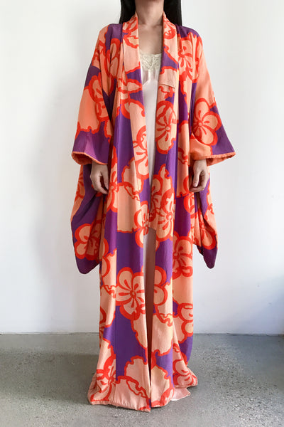 Antique Orange and Purple Silk Kimono - One Size