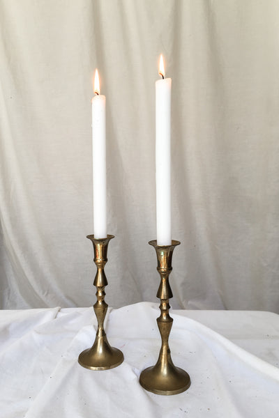 Vintage Pair of Mid-Century Modern Geometric Brass Candlesticks Holders
