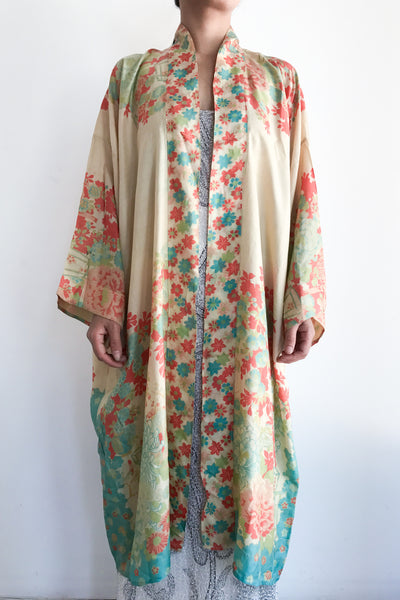 1920s Pongee Silk Ombre Floral Robe - One Size