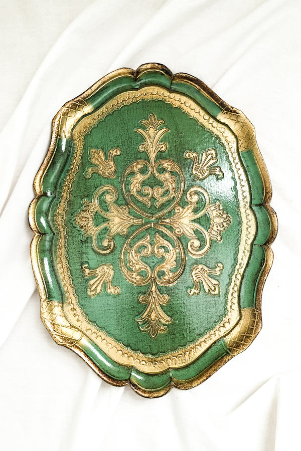 Vintage Small Green Florentine Tray