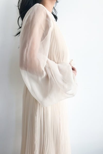 1960s Shell Pink Pleated Gown - M/L