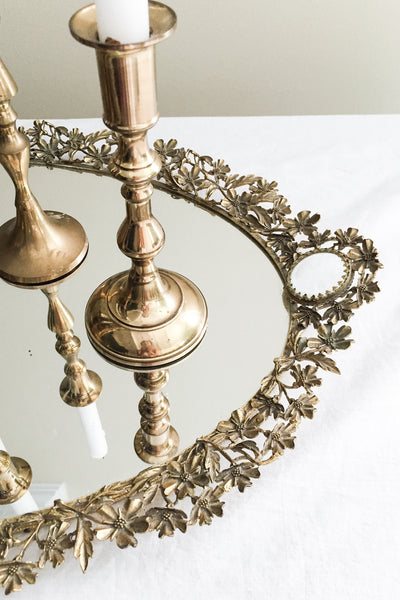 1920s Large Gilded Mirrored Tray