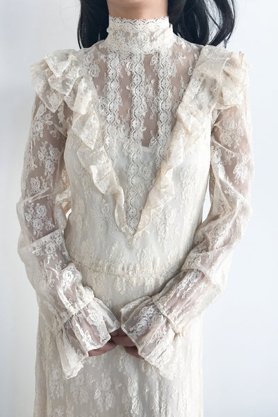 1970s Sheer Lace Gown - S/M