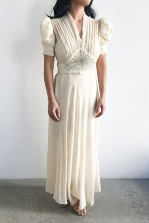 1930s Silk Chiffon Pleated Sleeve Gown - XS/S