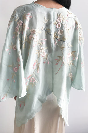 1920s Light Blue Silk Embroidered Jacket - One Size