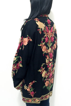 1970s Embroidered Cashmere Jacket - M