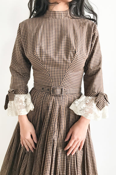 1950s Gingham New Look Dress with Lace Sleeves - XXS