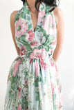 1970s Halter Chiffon Floral Dress - S/M