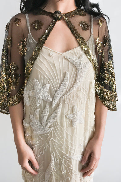 1930s Lace and Gold Sequined Capelet - One Size