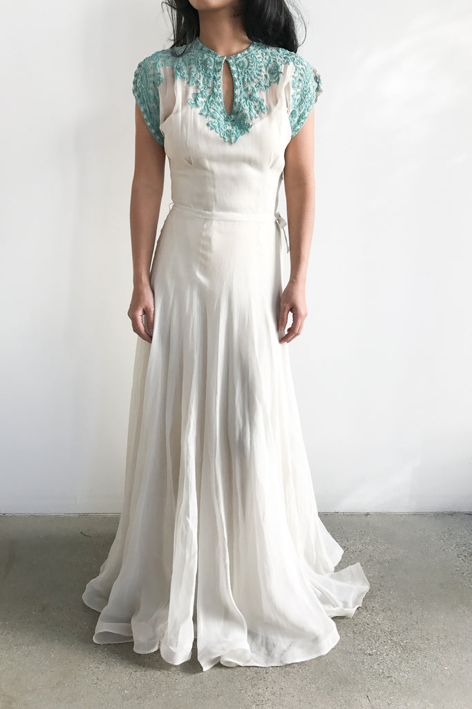 1930s Turquoise Soutache Embroidery Net Chiffon Gown - XS ...