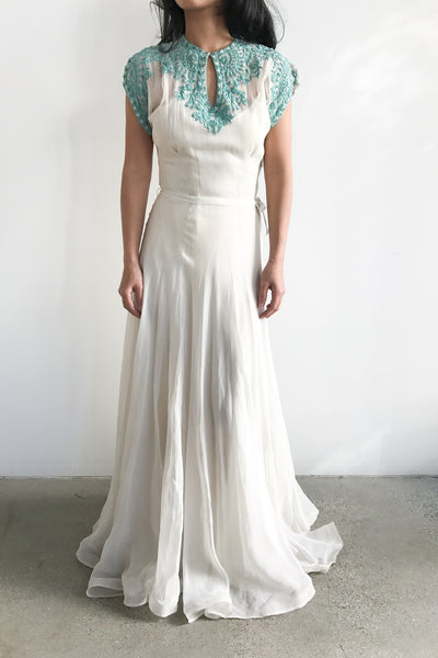 1930s Turquoise Soutache Embroidery Net Chiffon Gown - XS