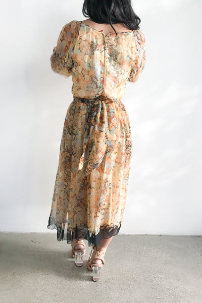 1970s Poet Sleeves Floral Chiffon Dress - S/M