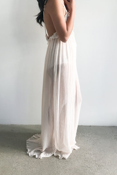 1980s Pale Pink Micro Pleated Sheer Gown - M