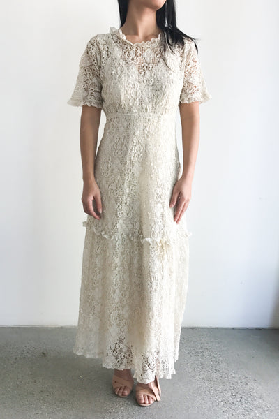 Rare Edwardian Embroidered Crochet Lace Tea Dress - S