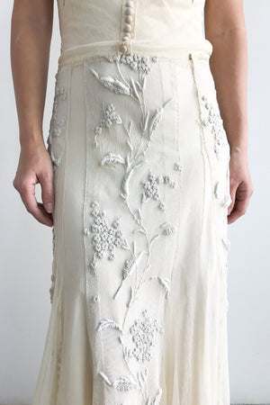 1930s Lace Tulle Embroidered Gown - XS