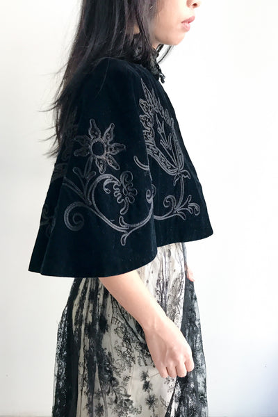 Victorian Embroidered Capelet - One Size