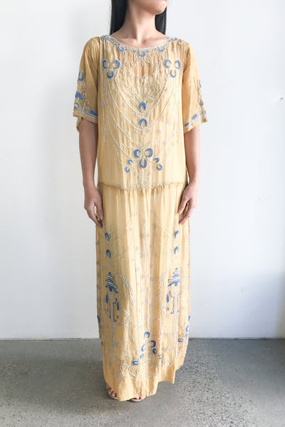 Rare 1920s French Cotton Flapper Dress - M