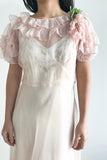 1920s Silk Organza Ruffled Dress - XS