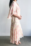 1920s Floral Chiffon Flapper Dress - S/M