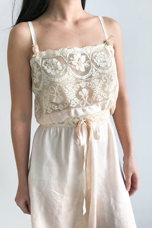 1920s Silk and Lace Step in Romper - M