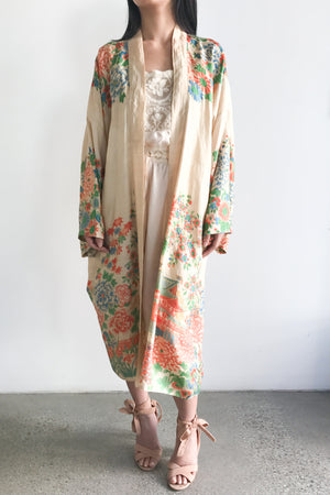 1920s Pongee Silk Floral Robe - One Size