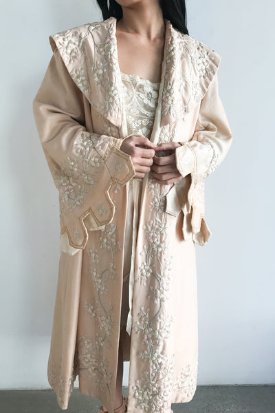Rare Edwardian Silk Export Embroidered Robe - M