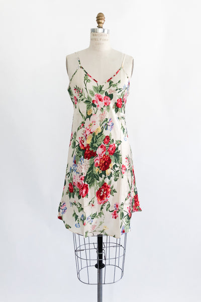 1980s Silk Floral Slip Dress - S/M