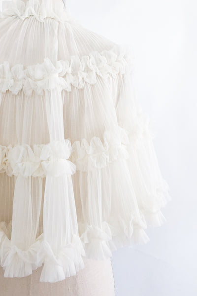 1960s Pleated Ruffled Capelet - One Size