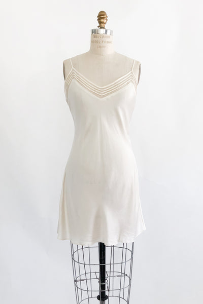 Ivory Silk Bias Slip Dress - S/M