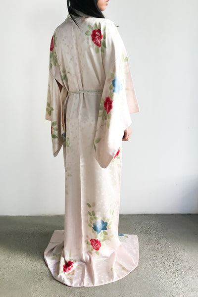 1940s Satin Silk Watercolor Kimono - One Size